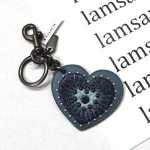 NWT NO BOX Coach Heart Appliqué Leather Keychain